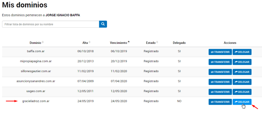 delegar dominio com.ar