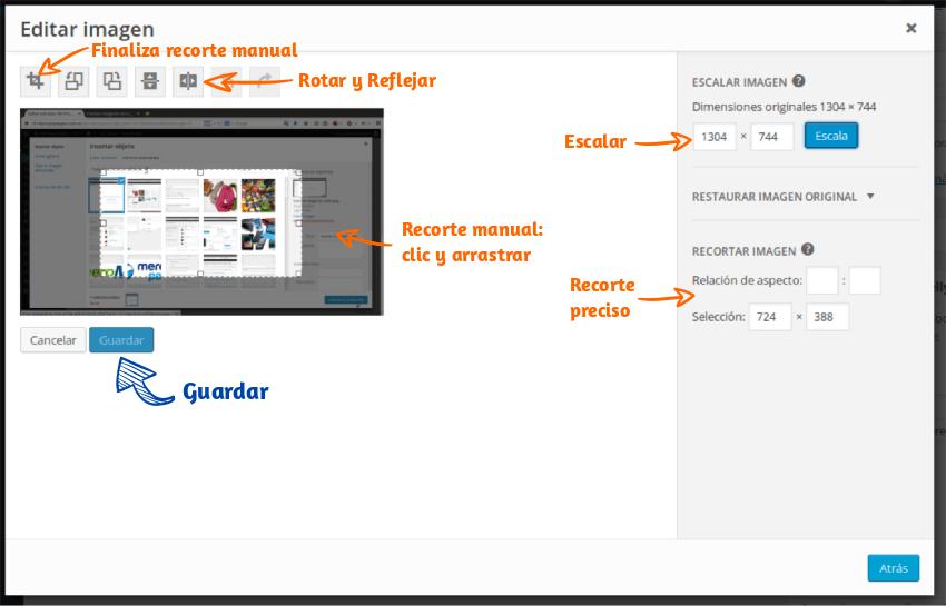 Editar una imagen en WordPress Paso 3