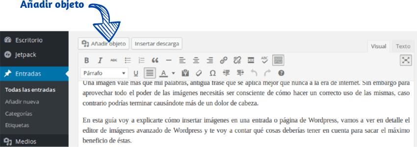 Cómo insertar una imagen en WordPress Paso 1