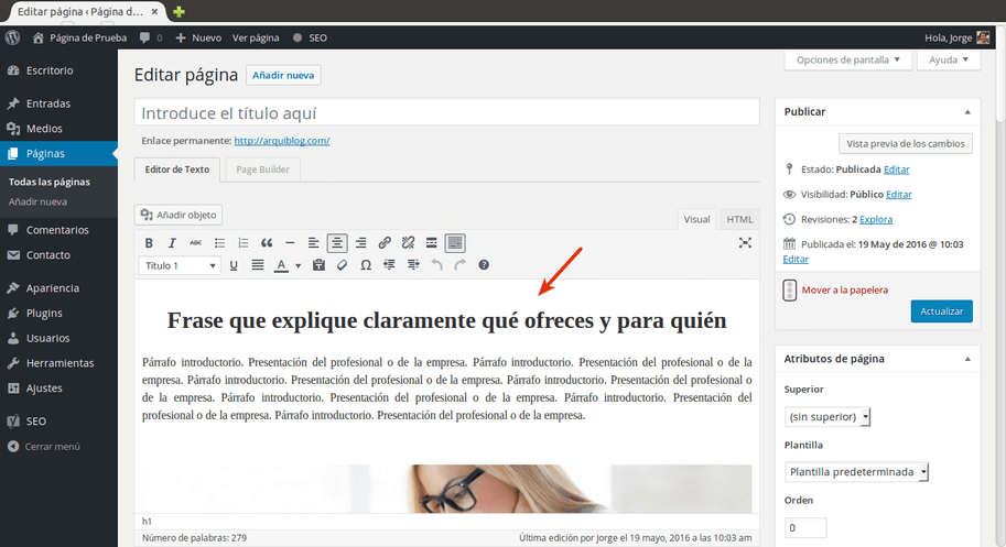 crear página principal con WordPress contenido