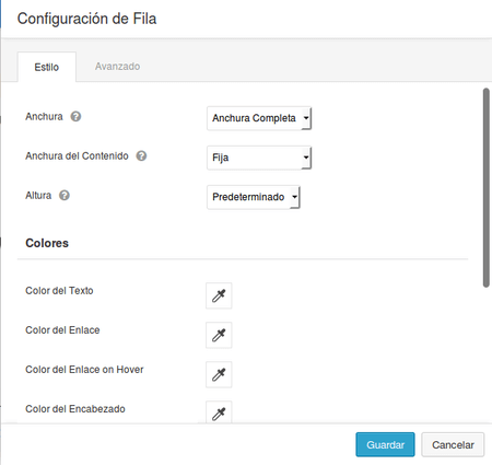 Configuracion de Fila Beaver Builder Estilo