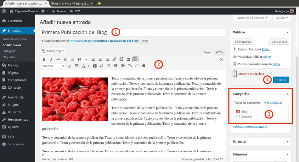 agregar blog a wordpress creando entrada