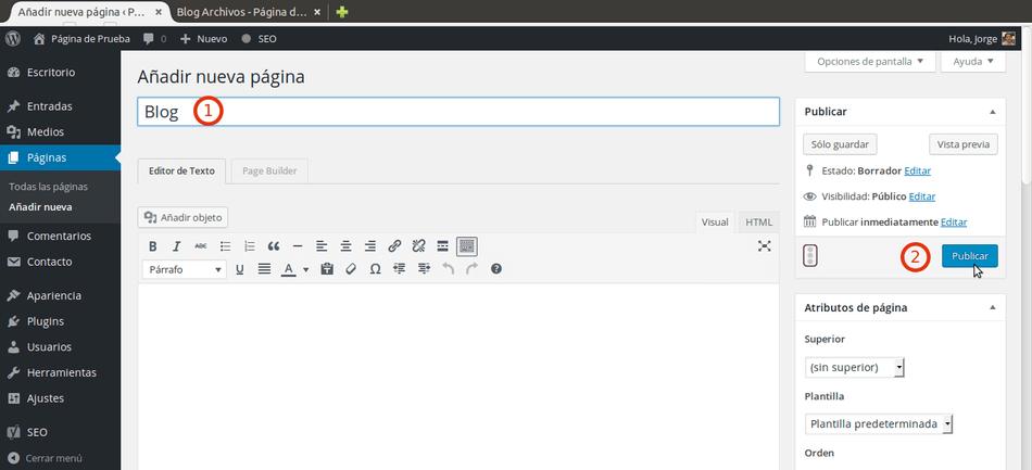 agregar blog a wordpress crear pagina entradas