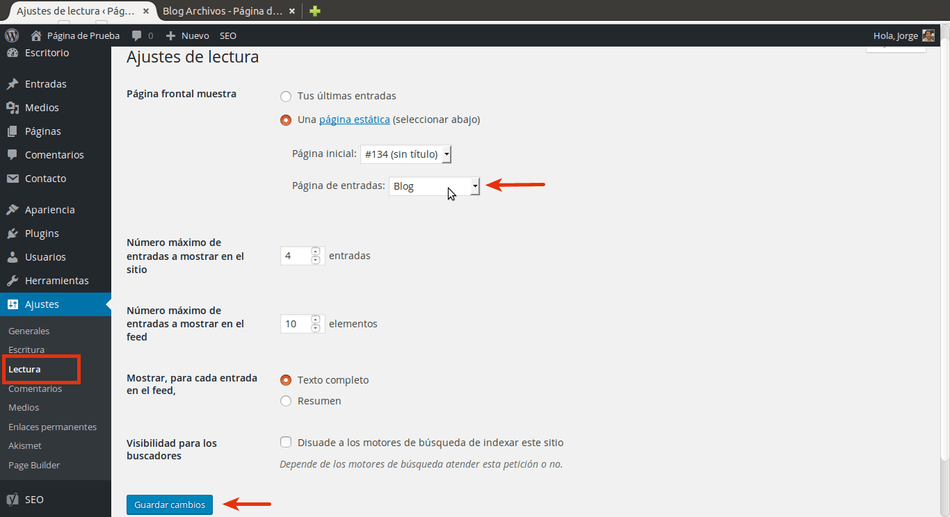 agregar blog a wordpress definir pagina entradas