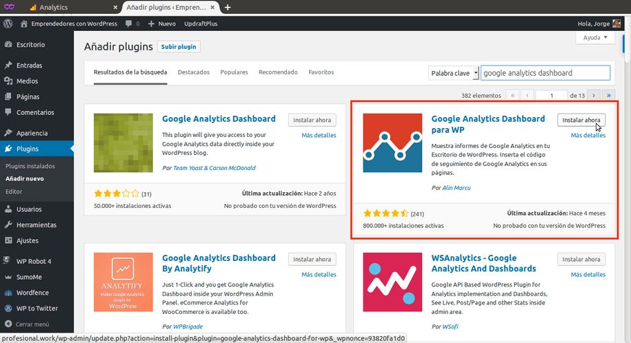Instalando Google Analytics Dashboard para WordPress