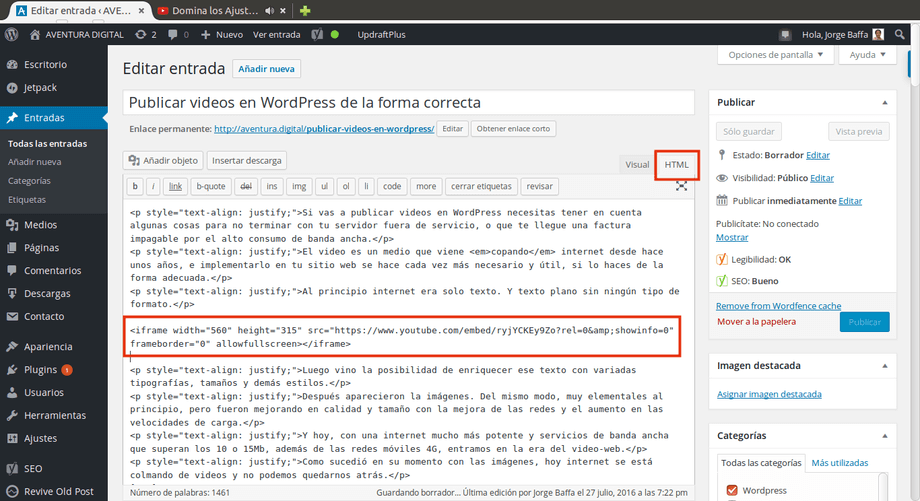 insertar videos entrada wordpress