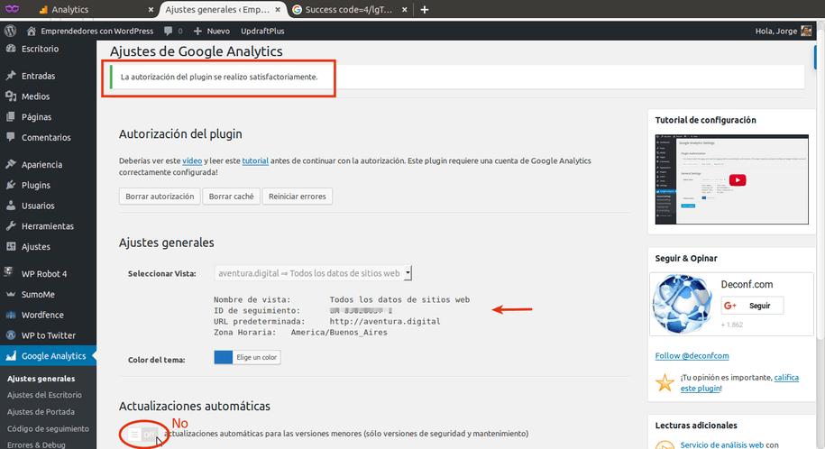 Instalacion exitosa de Google Analytics en WordPress