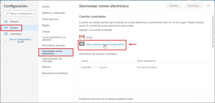 Añadir a Outlook.com tu cuenta de correo corporativo