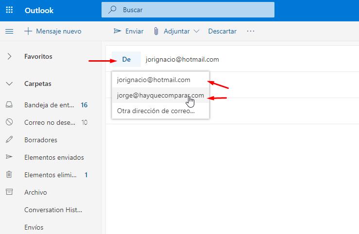 Enviar correo corporativo con Outlook.com