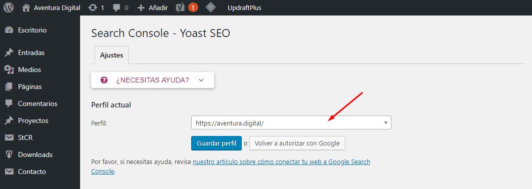 Vincular Yoast SEO con Search Console