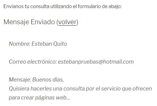 Confirmación envío formulario contacto Jetpack