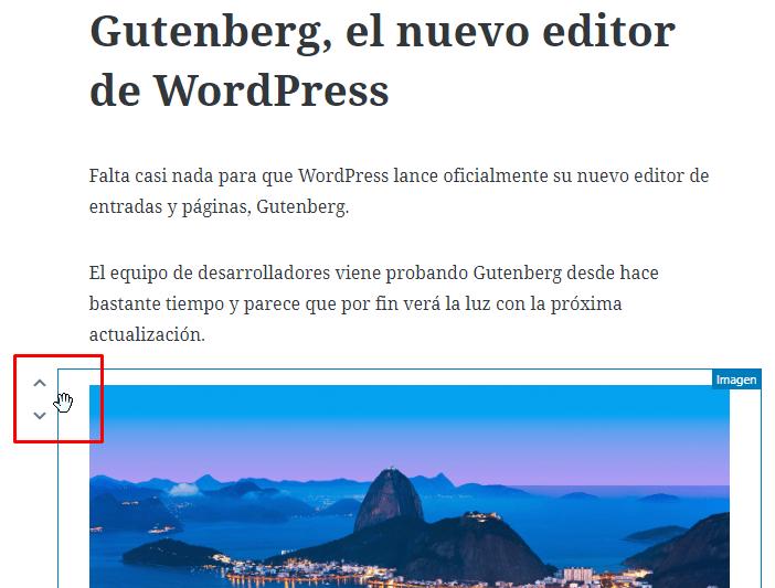 Ordenar bloques Gutenberg