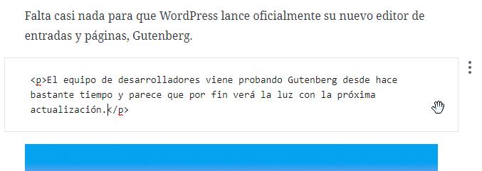 Editor HTML de Gutenberg