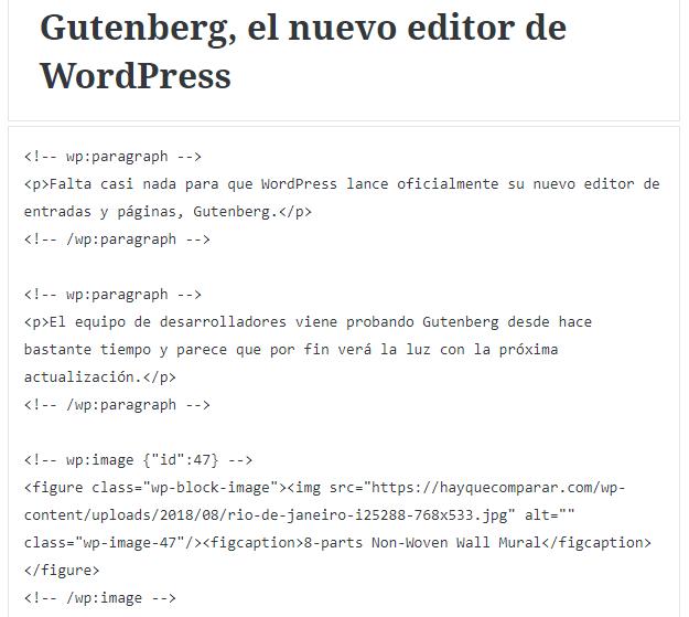 Editor de código de Gutenberg