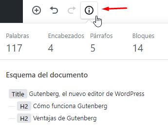 Gutenberg nos deja ver la estructura del documento.