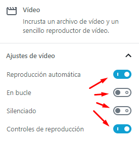 Configurar bloque de video Gutenberg