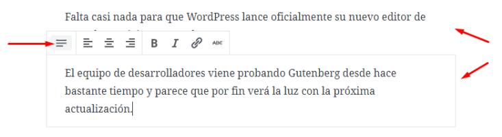 Bloques de párrafo en WordPress