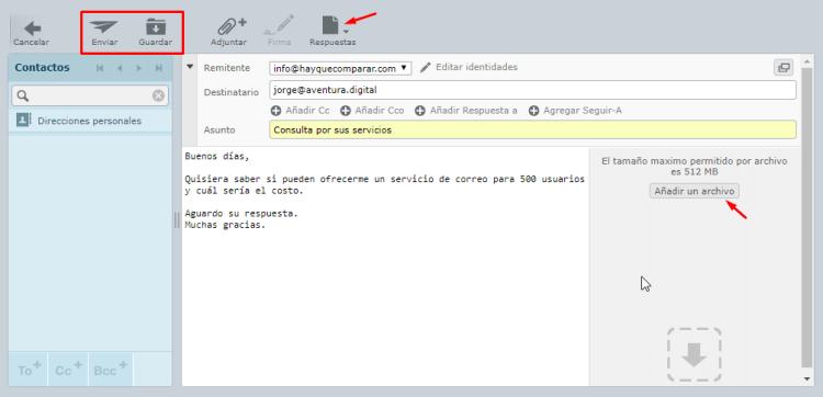 Cómo crear un correo con Roundcube
