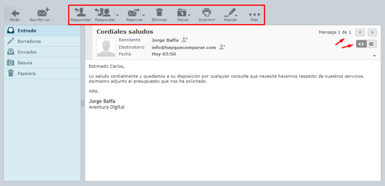 Leer un email con Roundcube
