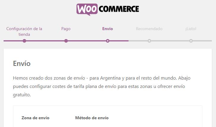Configuración de envíos en WooCommerce