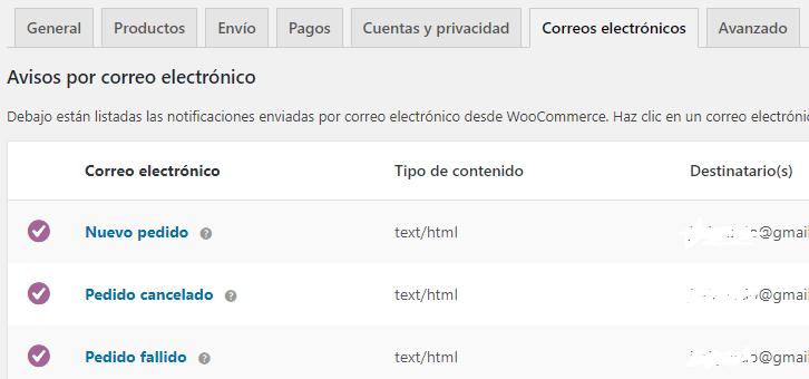 Configuración de correos electrónicos