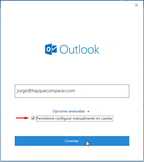Asistente de configuración de Outlook