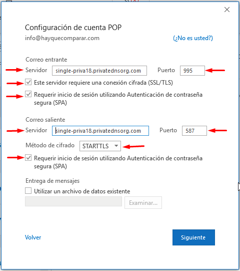 Configuración de la cuenta POP
