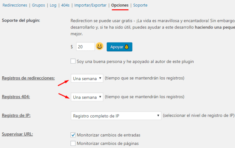 Opciones del plugin Redirection