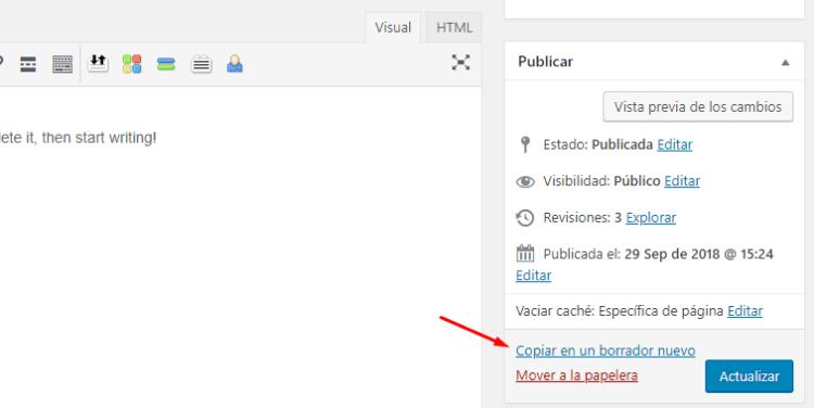 Clonar una entrada desde el editor de WordPress
