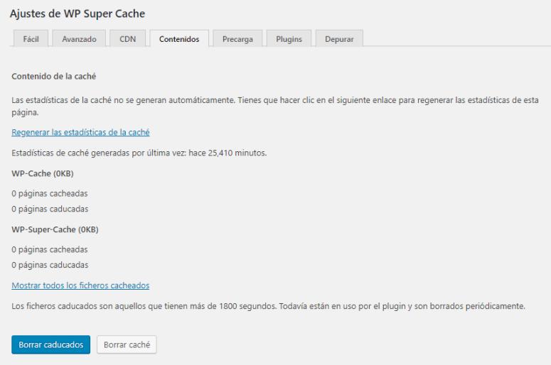 wp super cache contenidos