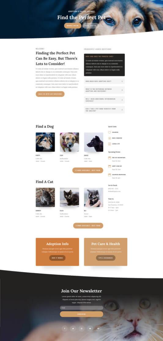 Plantilla WordPress para Refugios de animales