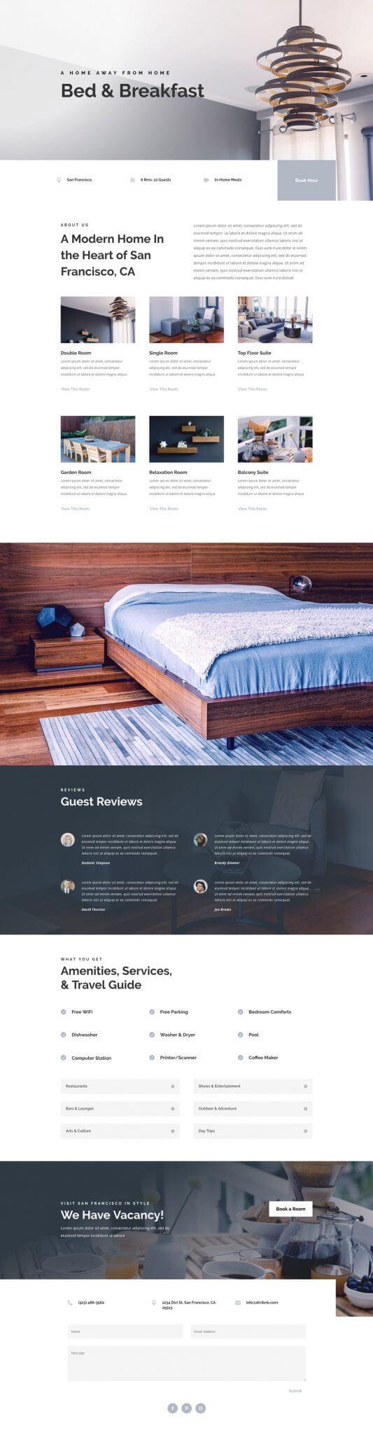 Plantilla Divi para Bed and Breakfast, Hoteles y Hosterías