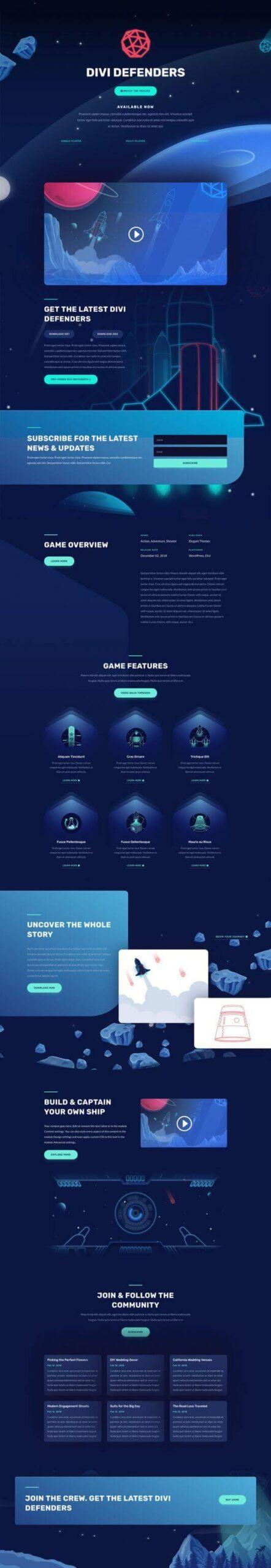 Layout Divi para Video Juegos
