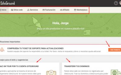Cómo es el área de clientes de SiteGround