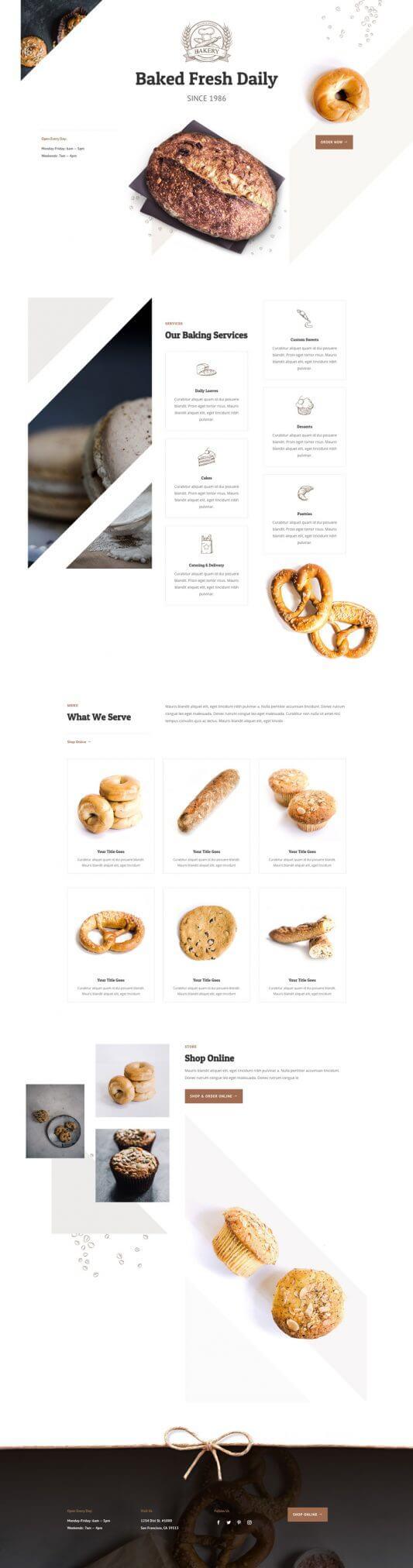 Plantilla Divi para Panaderías