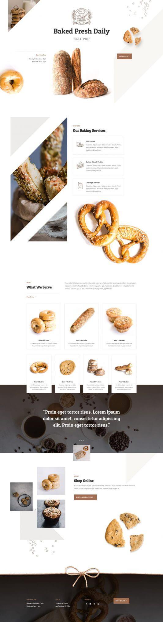 Layout Divi para Panaderías