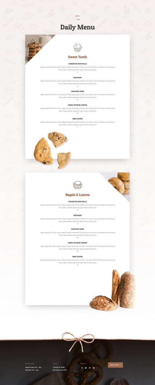 Plantilla WordPress para Panaderías
