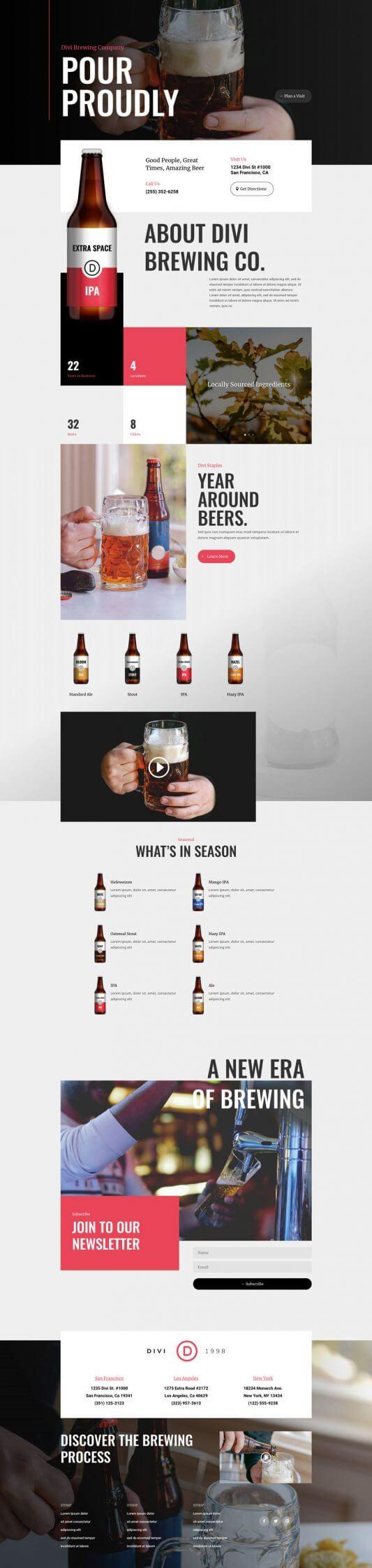 Plantilla Divi para Cervecerías