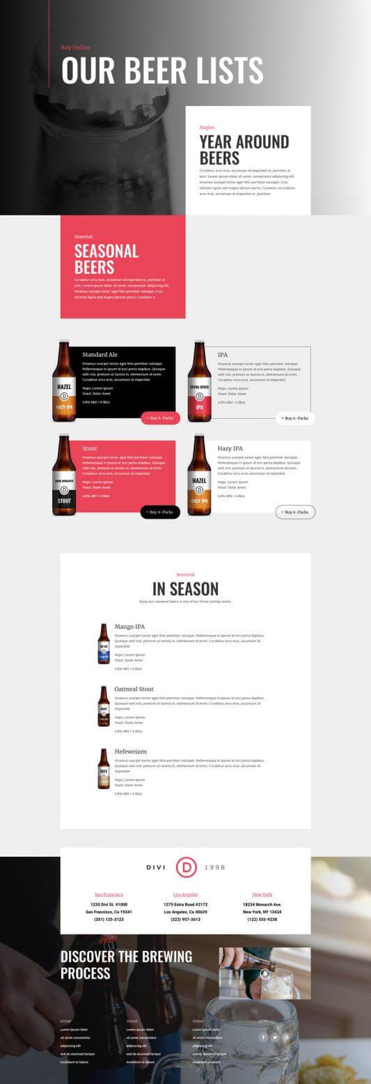 Tema Divi para Cervecerías