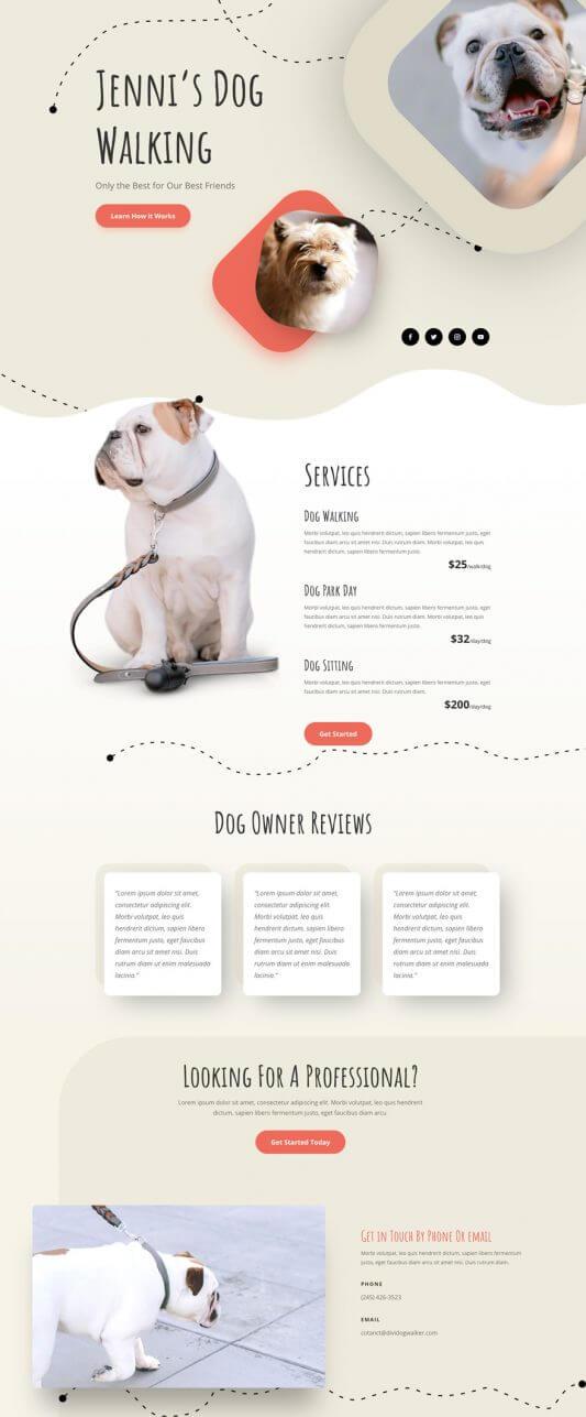 Plantilla Divi para Paseadores de perros