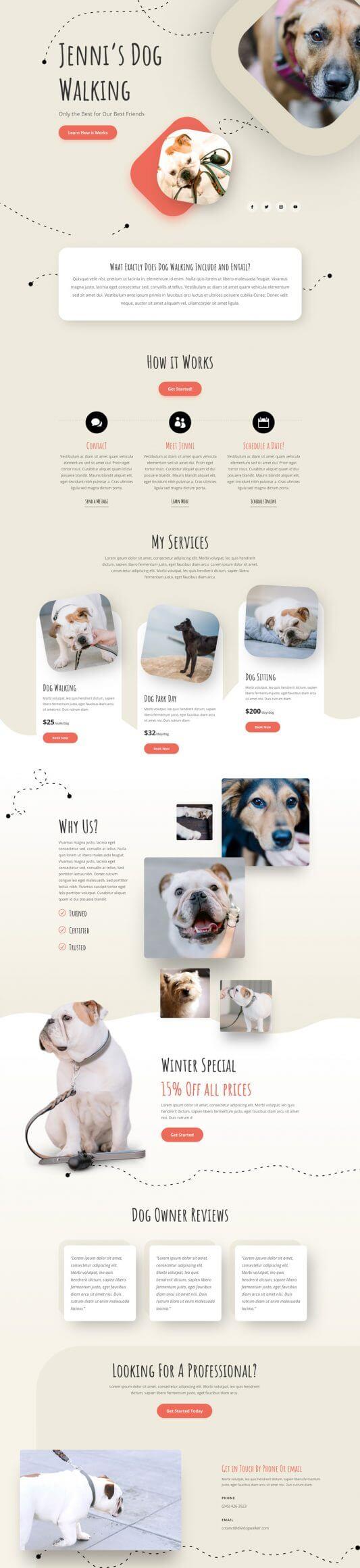 Layout Divi para Paseadores de perros