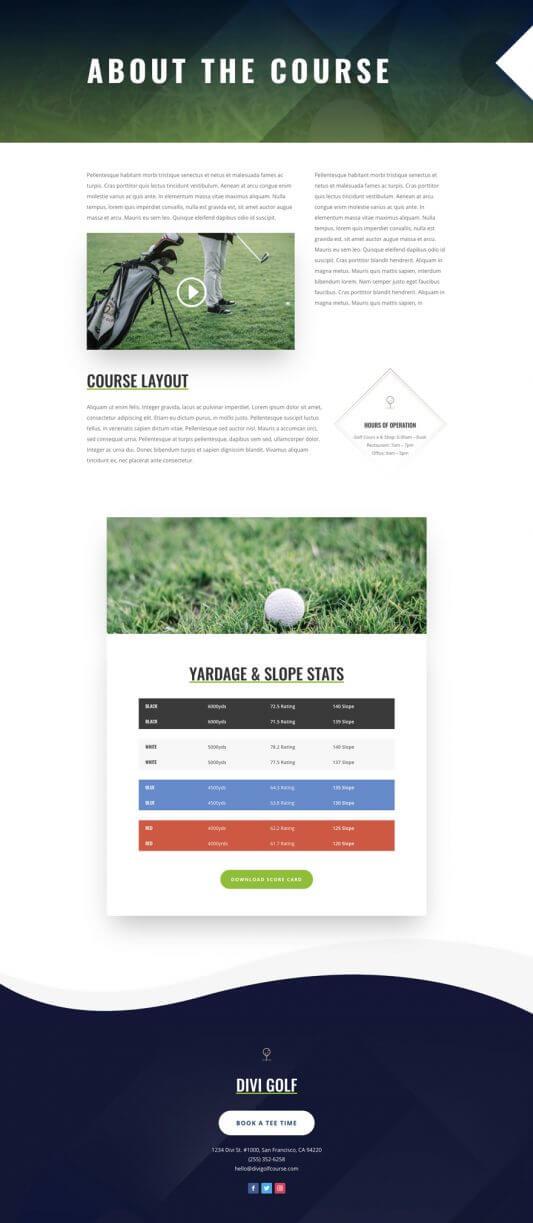 Plantilla WordPress para Campos de Golf