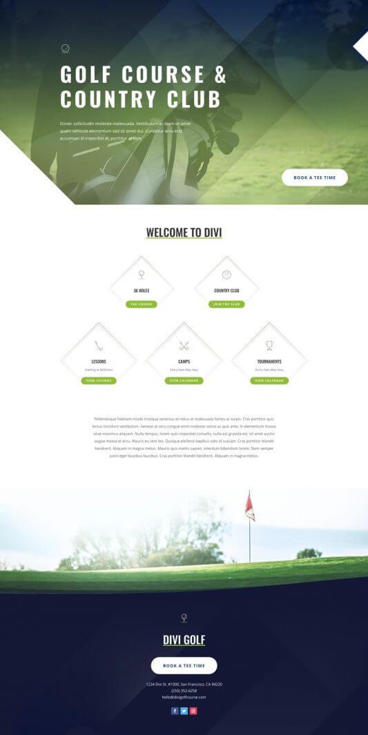 Plantilla Divi para Campos de Golf