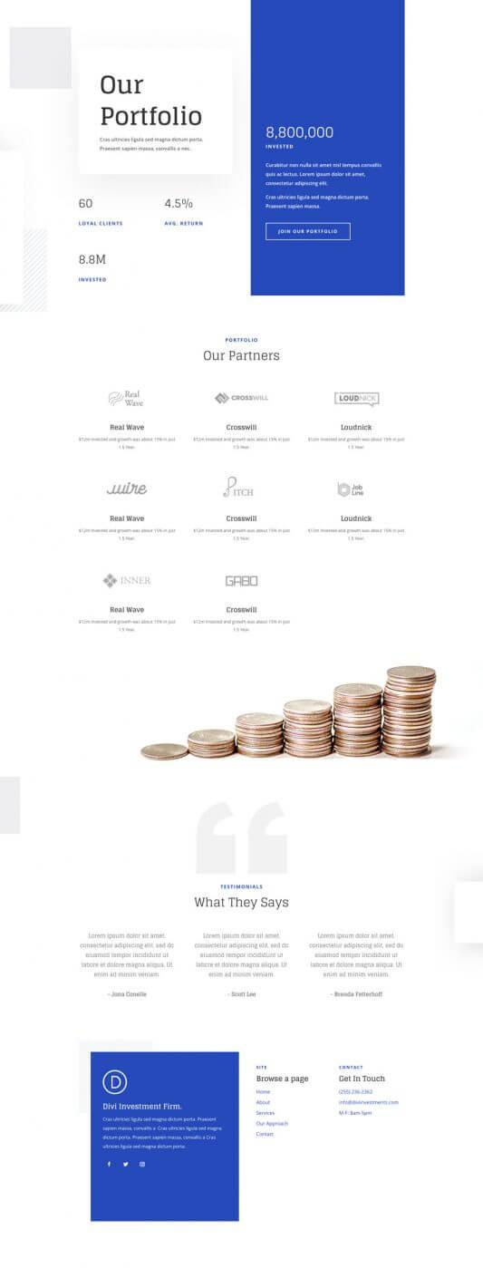 Tema Divi para Compañías de Inversión