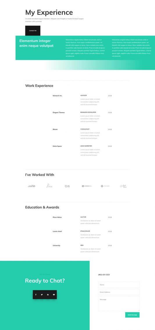 Plantilla Divi para CV Profesional