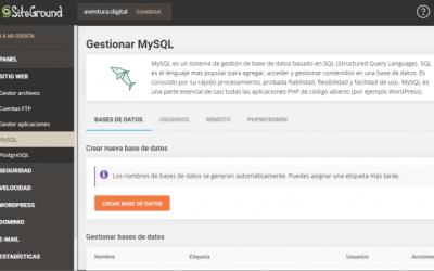 Cómo Gestionar las Bases de Datos MySQL en SiteGround