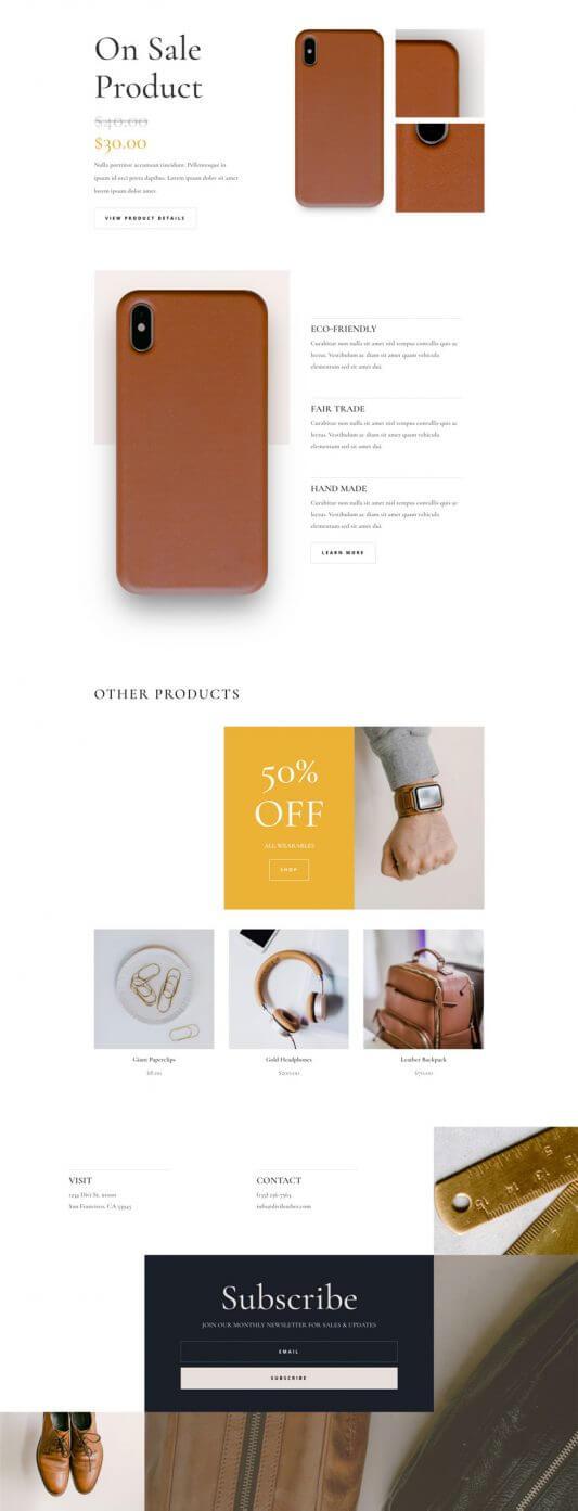 Plantilla WordPress para Productos de Cuero