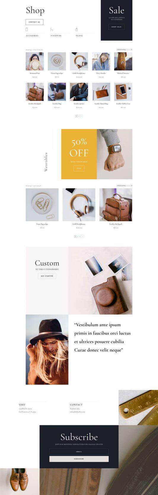 Tema Divi para Productos de Cuero