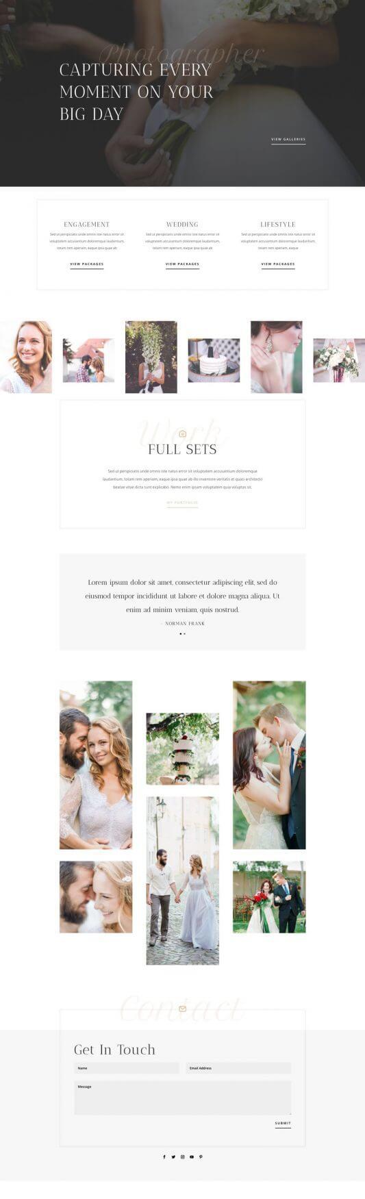 Plantilla Divi para Fotógrafos de bodas