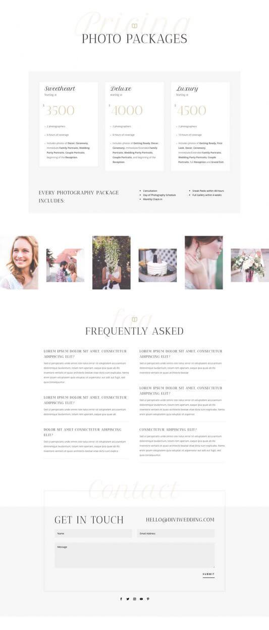 Tema Divi para Fotógrafos de bodas